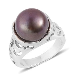 Jewelry - Freshwater Peacock Pearl  Silvertone Ring